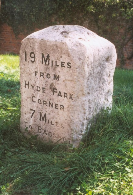 Old Milestone (north face) by the A30, Egham Hill, Egham