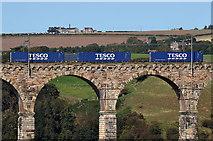 NT9953 : Tesco waggons on the Royal Border Bridge by Walter Baxter