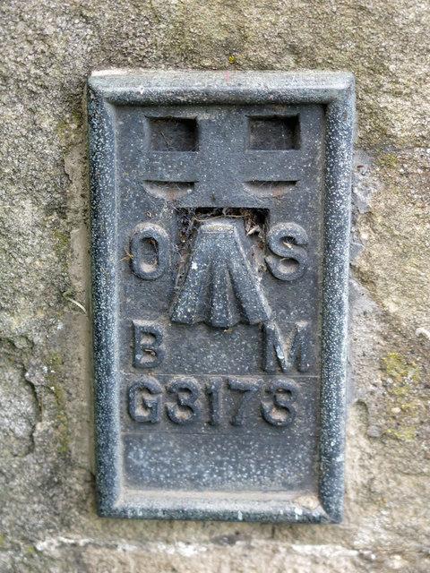 OSBM flush bracket on a building near Shittlehope Burn Bridge