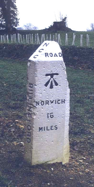 Old Milestone (west face) by the B1145, Elmham Road, Billingford