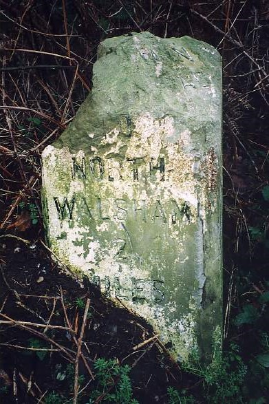 Old Milestone (east face) by Yarmouth Road, south of North Walsham