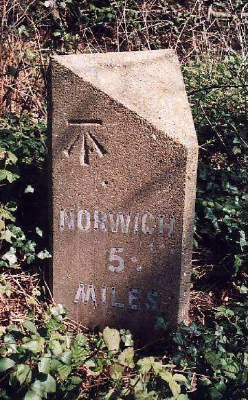 Old Milestone (north face) by Buxton Road, west of Frettenham