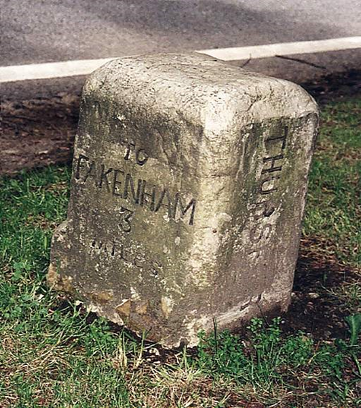 Old Milestone by the A148, Holt Road, by Kettlestone Belts