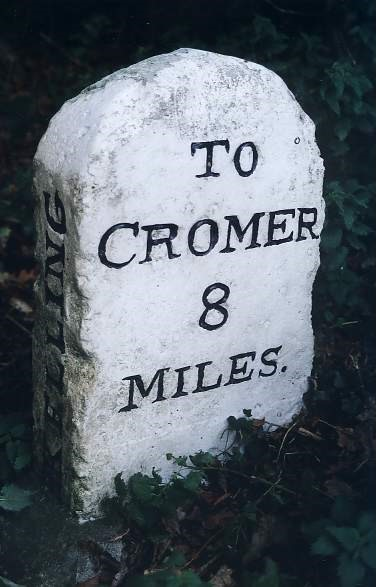 Old Milestone (west face) by the A148, Cromer Road, High Kelling