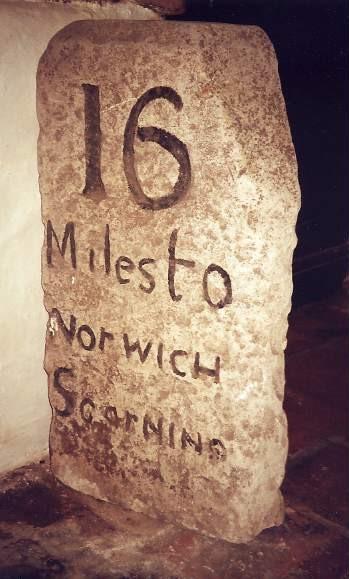 Old Milestone (left face), Bishop Bonner's Cottage Museum, St Withburga Lane, East Dereham
