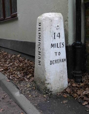 Old Milestone (east face) by the B1110, Dereham Road, Briningham Parish