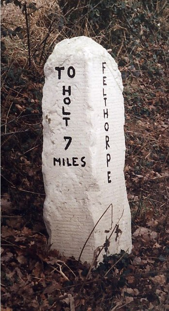 Old Milestone (south face) by the B1149, Holt Road, Felthorpe Parish
