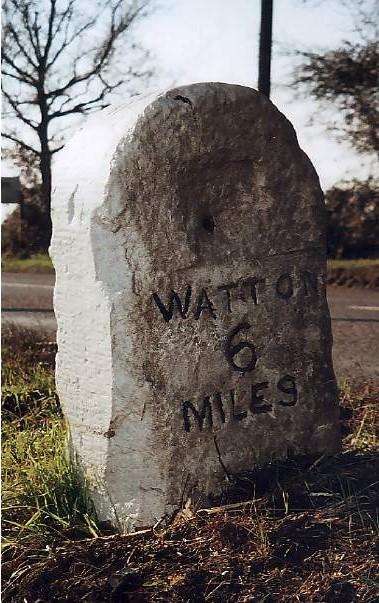 Old Milestone (north face) by the B1108, Watton Road, Hingham Parish
