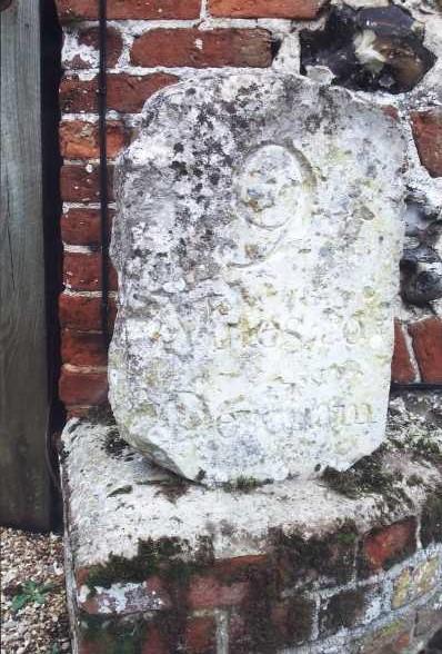 Old Milestone (right face) at Grange Farm off Mattishall Road, Honingham