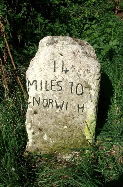 Old Milestone (south face) by Attleborough Road, Morley Parish, South Norfolk