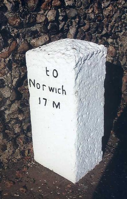 Old Milestone (south face) by Norwich Road, Dickleburgh
