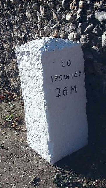 Old Milestone (north face) by Norwich Road, Dickleburgh