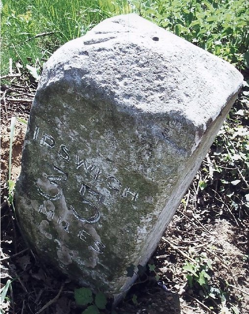 Old Milestone (north face) by the A140, Ipswich Road, Tasburgh Parish