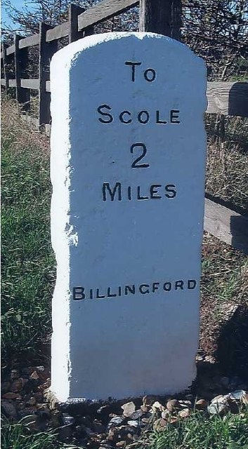 Old Milestone (east face) by the A143, Lower Street, Bungay Road