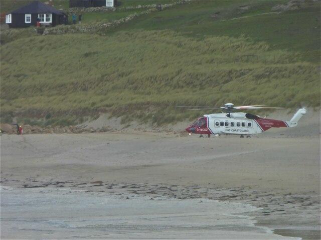 Coastguard helicopter on the beach at Sennen