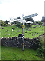SO8910 : Fingerpost, village green by Mr Red