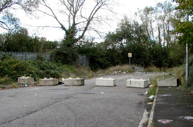 Concrete blocks across Seven Stiles Avenue, Newport Retail Park