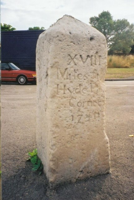 Old Milestone (south west face) by the A4, London Road, Slough Parish