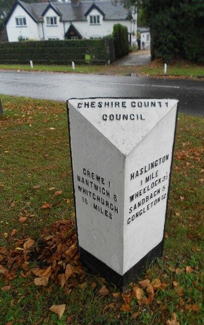 Old Milepost by the B5077 in Crewe Green