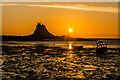 NU1341 : Sunrise behind Lindisfarne Castle by Ian Capper