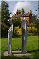 """SJ4034 : Ellesmere: sculpture, """"The Sisters"""" by Christopher Hilton"""