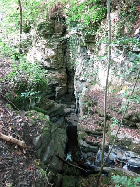 Shittlehope Burn in a narrow rocky gorge
