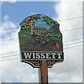 TM3679 : Wissett village sign front - (detail) by Adrian S Pye