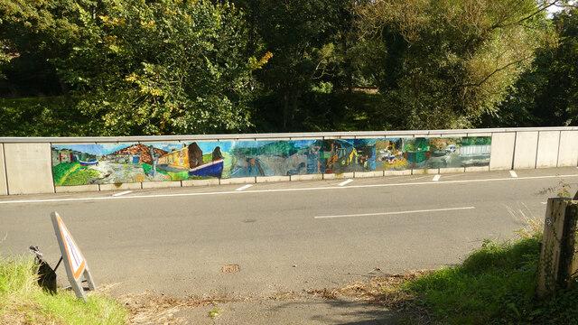 Mural on bridge over Kilton Beck