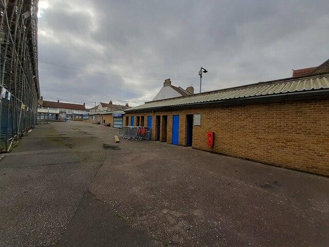 Turnstiles behind the Brian Moore Stand at Priestfield Stadium