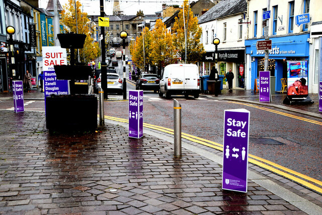 """Stay Safe"" notices, Market Street, Omagh"
