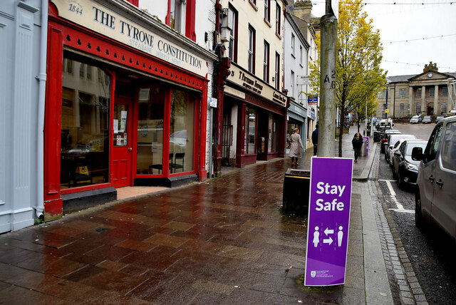 """""""Stay Safe"""" notice, High Street, Omagh"""
