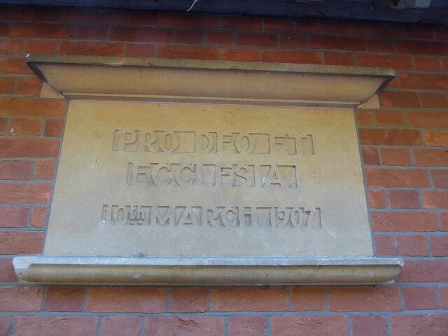 Holy Cross, Ramsbury: plaque on the church hall