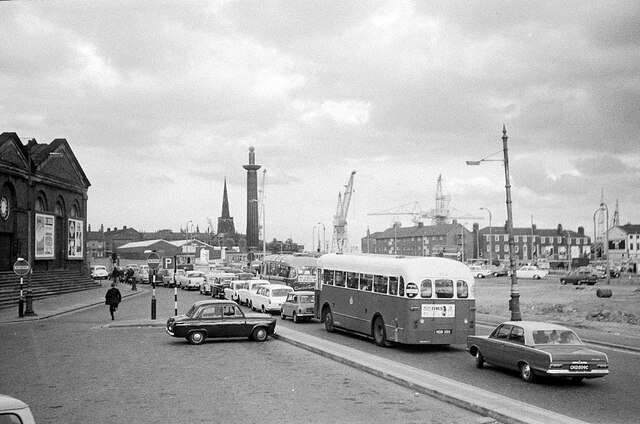 Queueing for the Mersey Tunnel, King's Square, Birkenhead – 1966