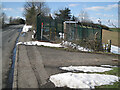 SP0167 : Gas governor compound by Hewell Lane with snow lying, 2nd April, Redditch by Robin Stott