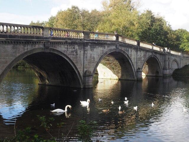 The recently restored Clumber Bridge