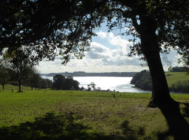 The view from the tennis lawn at Trelissick