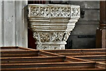 ST0207 : Cullompton, St. Andrew's Church: The font by Michael Garlick