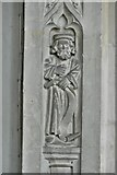 ST0207 : Cullompton, St. Andrew's Church: Nave column carving by Michael Garlick