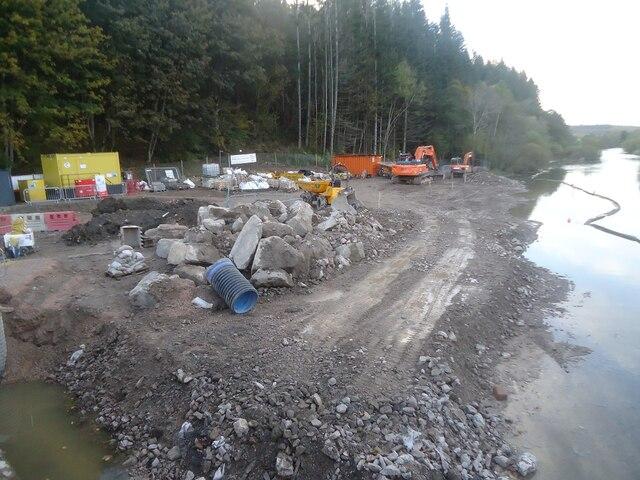 The new Pooley Bridge construction site