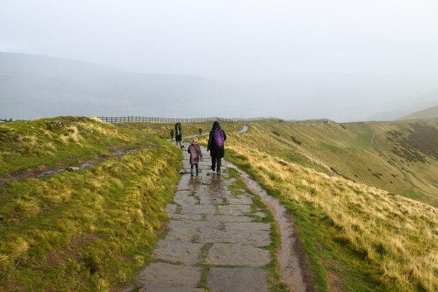 Mam Tor summit path approaching the Mam Tor Bridleway