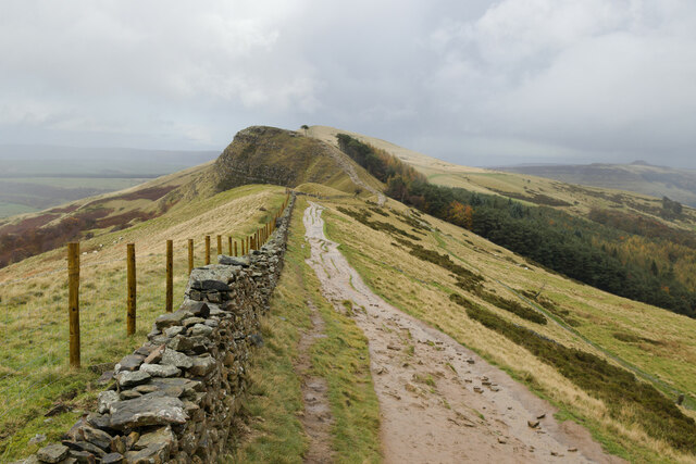 Wall and Path on Great Ridge approaching Back Tor