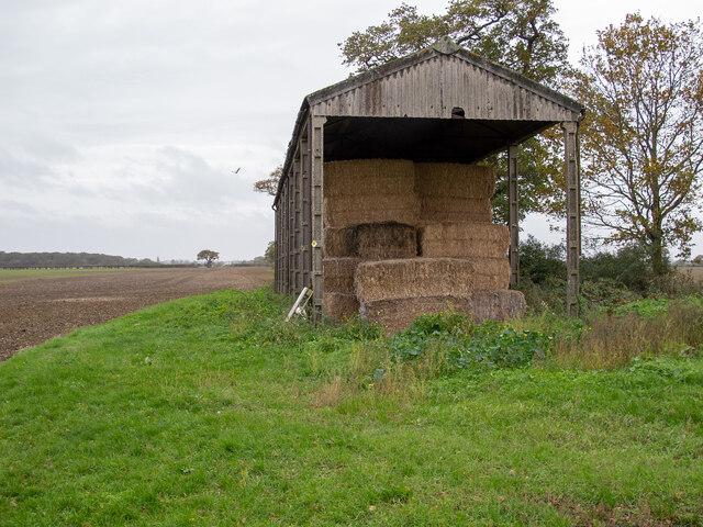 Footpath past barn, near Tillingham Hall, West Horndon