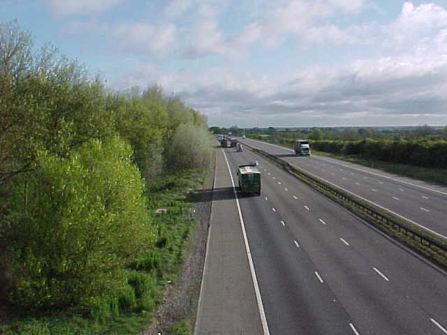 The M1 north from Station Road