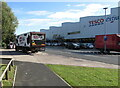 ST3486 : Müller Milk lorry in Newport Retail Park by Jaggery