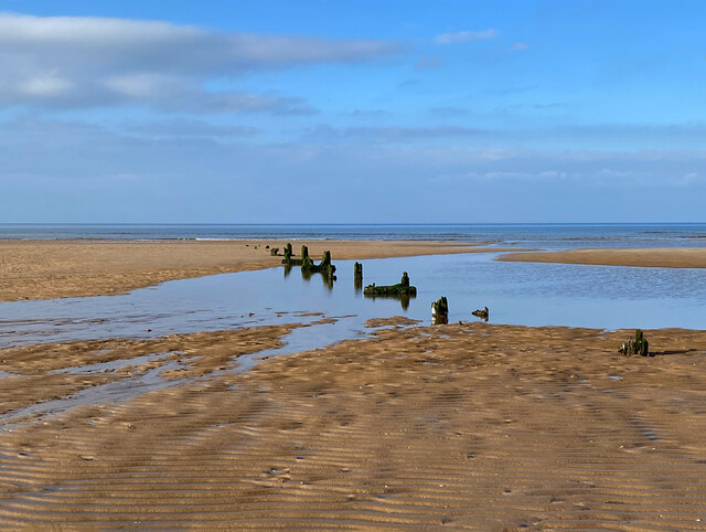 Timber piers on Gullane Sands, Aberlady Bay
