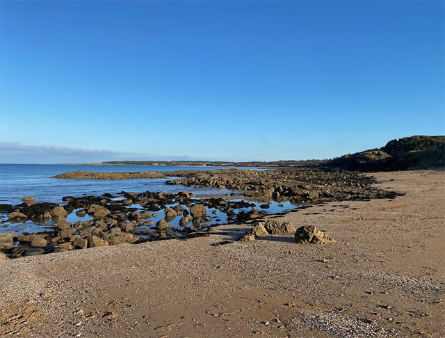 Sandy cove at the west end of Gullane Bay