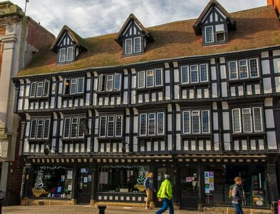 SK9771 : The buildings on the High Bridge, Lincoln by Oliver Mills