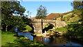 SK1695 : River Derwent & footbridge at Slippery Stones, Upper Derwent Valley by Colin Park