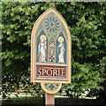 TF8411 : Sporle village sign by Adrian S Pye