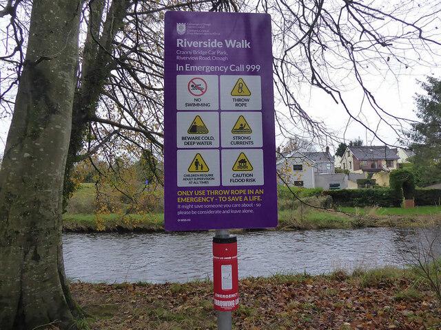 Notice, Riverside Walk, Cranny Bridge Car Park, Riverview Road